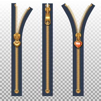 Three zippers for clothes open and closed. gold color isolated on a transparent background.