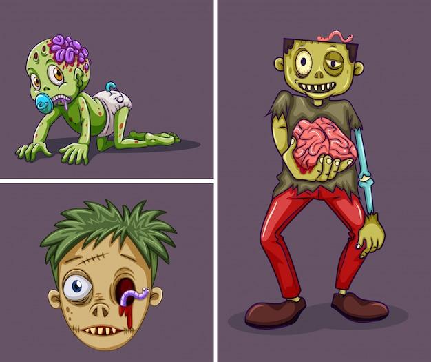 Три зомби на сером фоне