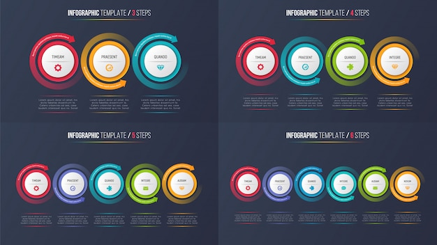 Threesix шаги инфографики процесс диаграммы с круговыми стрелками.