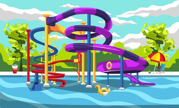 Thrill waterpark playground resort for kids with slides and green panorama