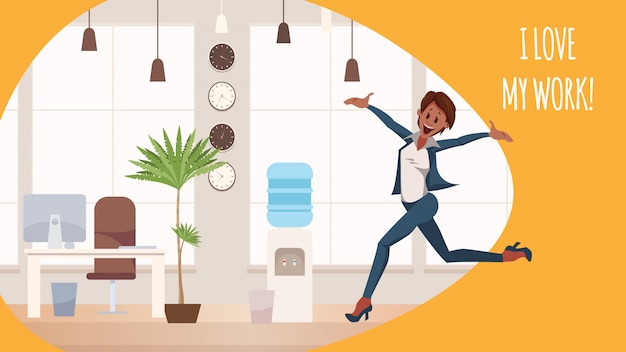 Thrilled office woman jumping in coworking space