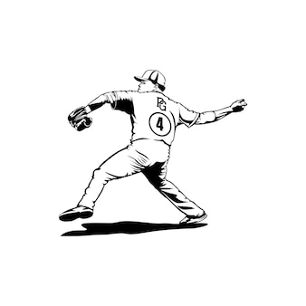 ボールを投げる野球のロゴデザインの男性プレーヤークラブ