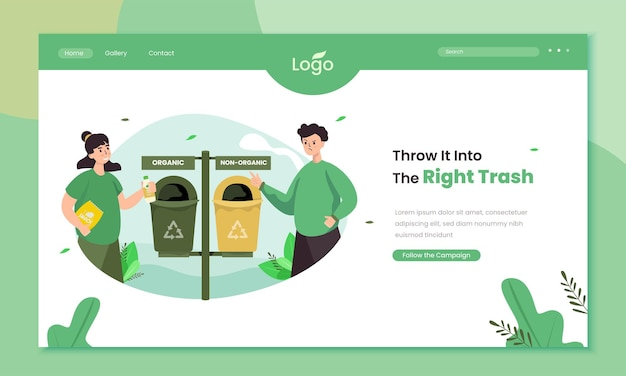 Throw trash into the right trash bin on landing page template