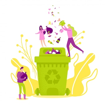 Throwing rubbish into green recycle bin