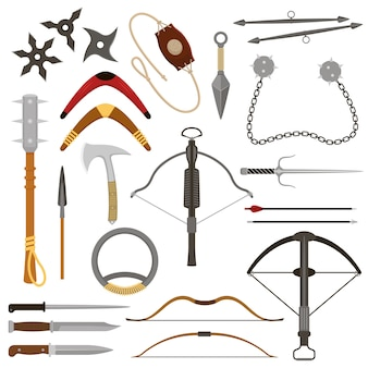 Метательное оружие арбалет острые стрелы и нож или топор иллюстрация оружие набор ниндзя-кунай или сюрикен и гарпун ручного доспеха оборудования, изолированных на белом фоне