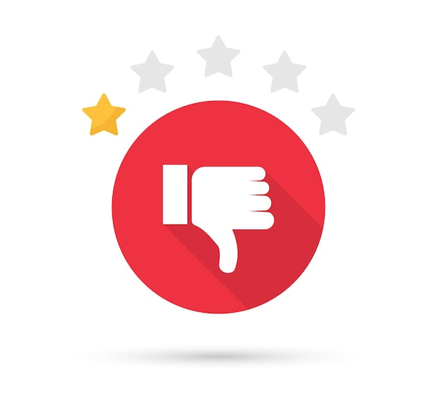 Thumb down icon with shadow. star rating customer satisfaction