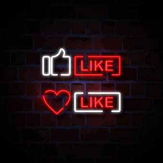 Thumb and heart like icon neon style sign illustration