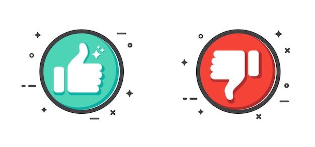 親指を上に向けて親指を下に向けるボタン白い背景に分離されたアイコンの好き嫌い