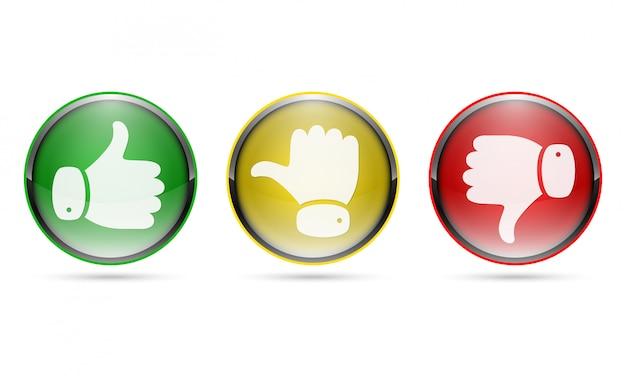 親指を上げるボタンと親指を下げるボタン。図