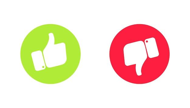 Thumb up 및 thumb down 손 녹색 및 빨간색 좋아요 아이콘 및 싫어요 확인 및 나쁜 기호 좋아요 또는 싫어요