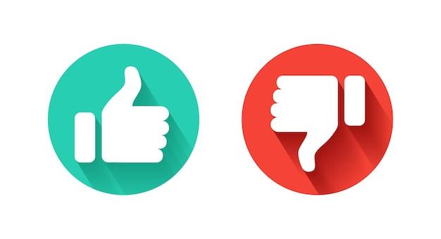 Значок «большой палец вверх» и «большой палец вниз». нравится и не нравится.