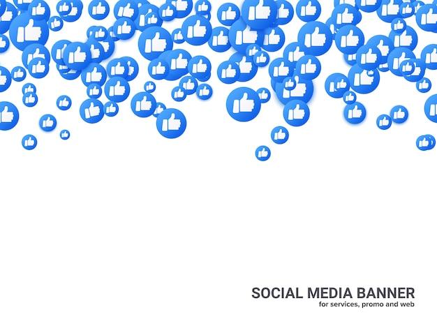 ソーシャルネットワークの背景を親指で上げ、