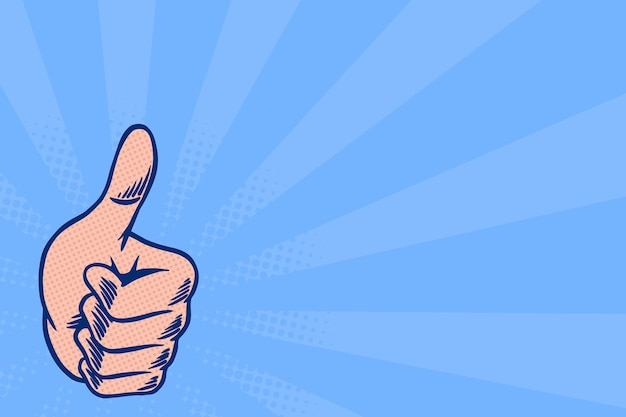 Thumb up on blue background design resource