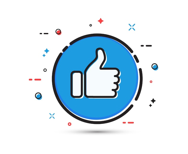 Кнопка большого пальца вверх на белом фоне плоский дизайн