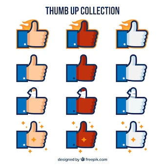 Thumb up collection in flat design