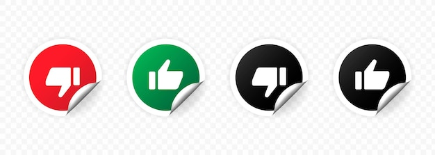 Thumb up and down icon set isolated