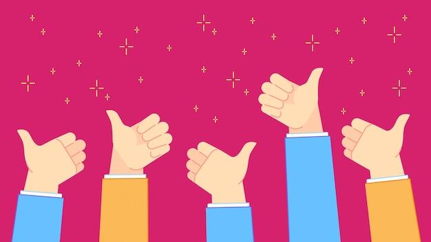 フィードバックを高く評価してください。手のジェスチャー、チームワーク、肯定的なお祝いイラストを親指で成功したオフィスの人々