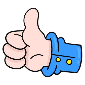 Thumb up finger signifies like agree. cartoon emoticon. doodle icon drawing, vector illustration