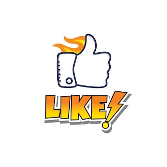 Thumb up hand sign cartoon