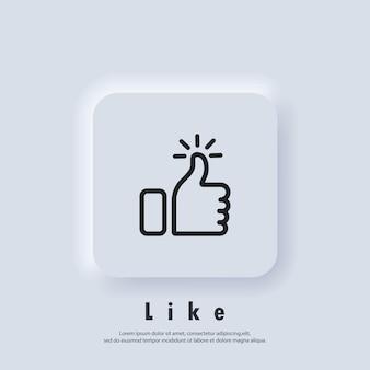 위로 엄지 아이콘입니다. 아이콘처럼. 손 같은. 소셜 미디어 기호입니다. 승인 인감. 확인 기호입니다. 고급 품질. 업적 배지. 품질 마크. 벡터 eps 10. 뉴모픽 ui ux