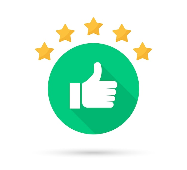 Thumb up icon with shadow. star rating customer satisfaction
