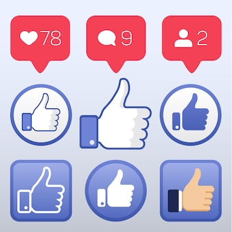 Thumb up, like icons, like follower comment icons vector. set of element for social network illustra