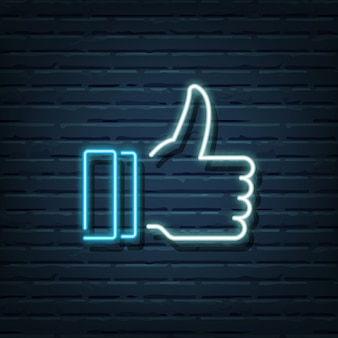 Thumb up neon sign