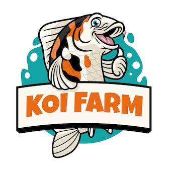 Thumb up pose of cute cartoon koi fish