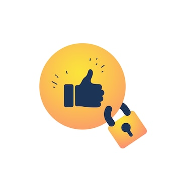 Thumb up sign with lock illustration