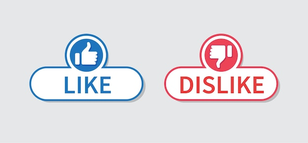 Thumb up and thumb down button like and dislike icon isolated on gray background