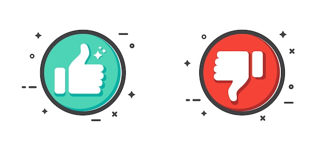 Thumb up and thumb down button like and dislike icon isolated on white background