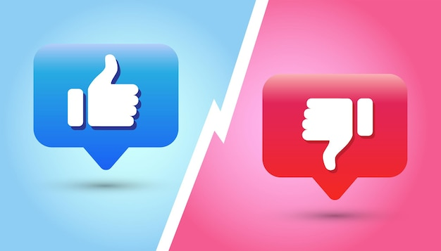 Thumb up and thumb down button like and dislike icon