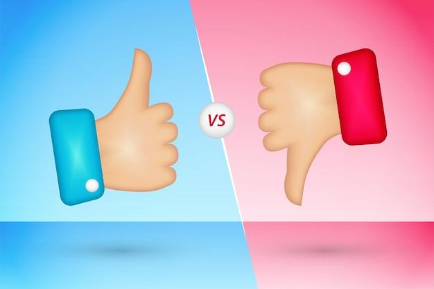 Thumb up and thumb down icons like and dislike