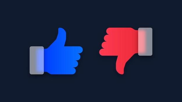 Thumb up and thumb down like and dislike icons