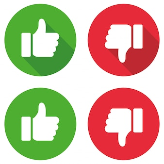 Thumb up and thumb down sign set. vector illustration