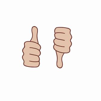 Thumb up and thumb down symbol vector illustration