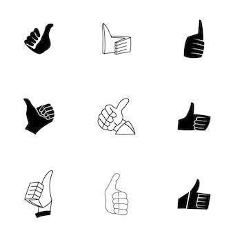 엄지손가락 벡터 세트입니다. 간단한 엄지 위로 모양 그림, 편집 가능한 요소는 로고 디자인에 사용할 수 있습니다.