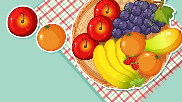 テーブルにたくさんの果物があるサムネイルデザイン