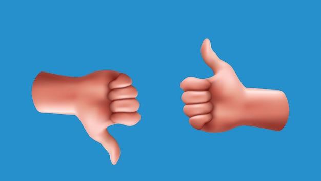 Большие пальцы руки вверх и вниз