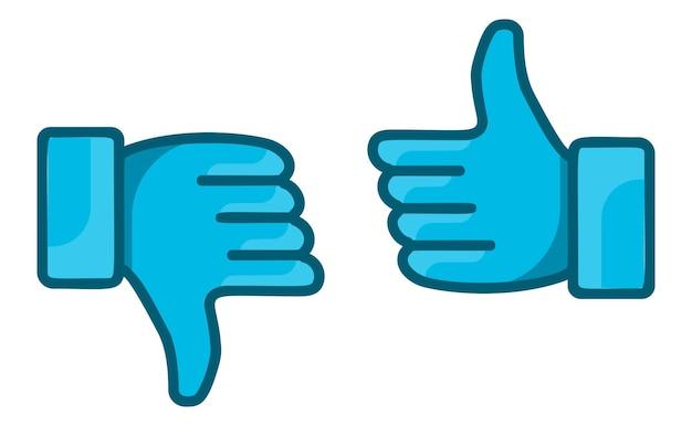 Большие пальцы руки вверх и пальцы вниз