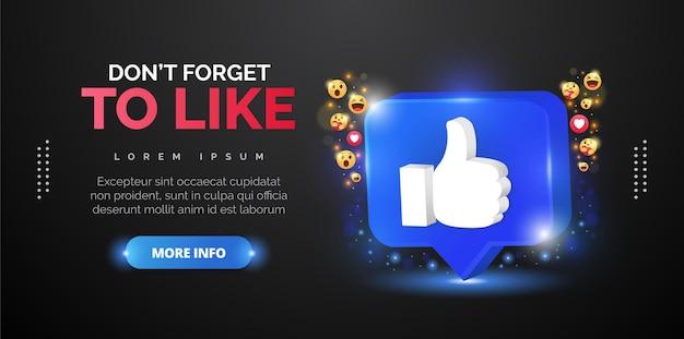 ソーシャルメディアプロモーションのための親指アップデザイン