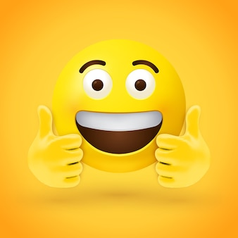 Thumbs up emoji with big eyes and open mouth