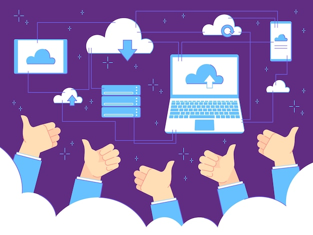 Thumbs up feedback. cloud computing and backups. businessman with thumbs up gestures. teamwork  business concept
