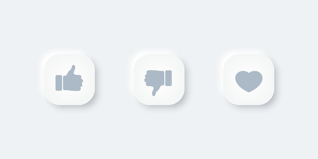Thumbs up and heart icons button. vector design