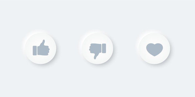 Thumbs up and heart icons button