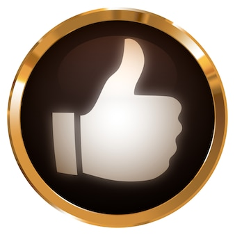 Thumbs up icon on badge gold glossy metallic