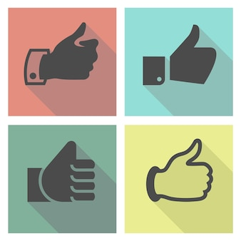 Thumbs up on a light colored square
