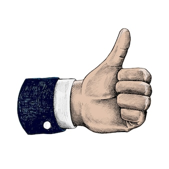 Thumbs up in a suit illustration