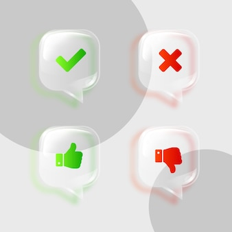 Thumbs up thumbs down and checkmark and cross icon symbols