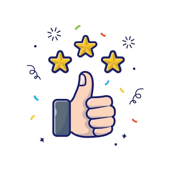 Thumbs up with golden stars illustration. review and give feedback, reward icon concept white isolated